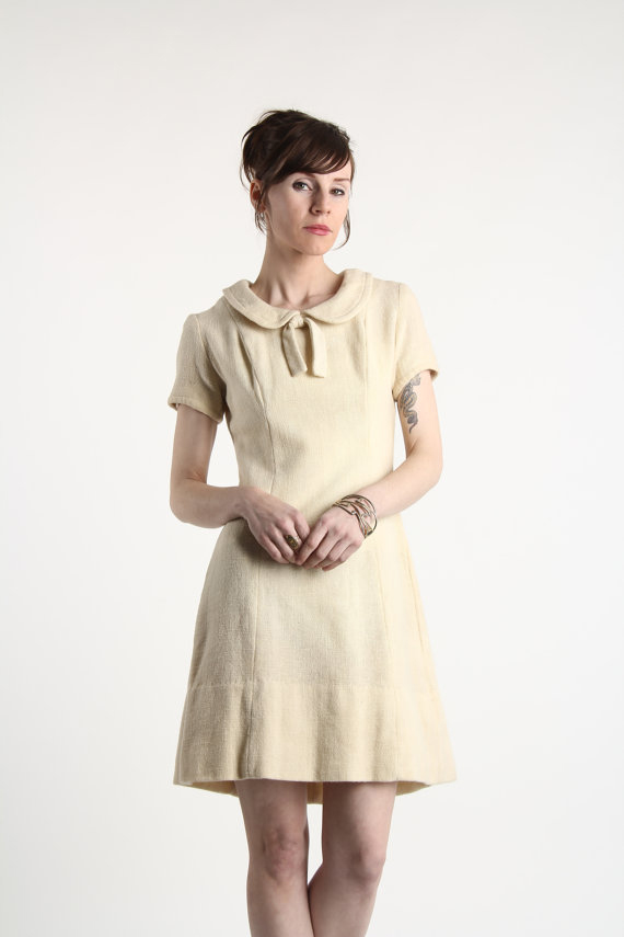 1960s Mini Dress Mod Ecru Wool Knit