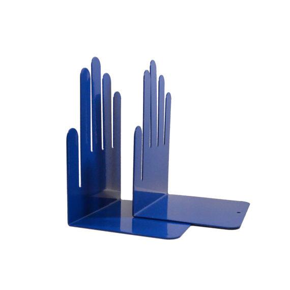 Vintage Mod Bookends Blue Metal Large Hands