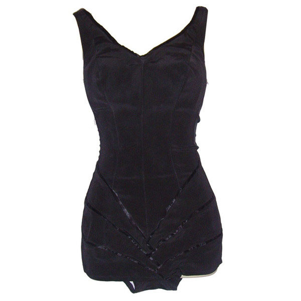 Kittiwake unworn 1950s black sexy hourglass pin-up swimsuit