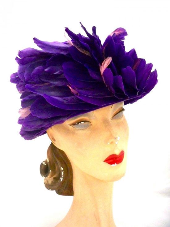 Vintage Ladies Hat Purple Feathers Swirl Bucket Hat 1950s One Size