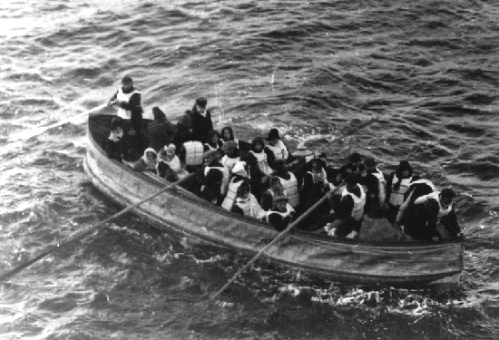 Titanic survivors in a lifeboat