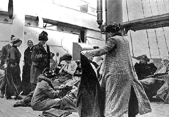 Titanic survivors onboard the Carpathia