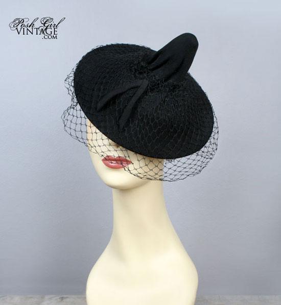 1930's Black Tilt Top Veiled Vintage Hat
