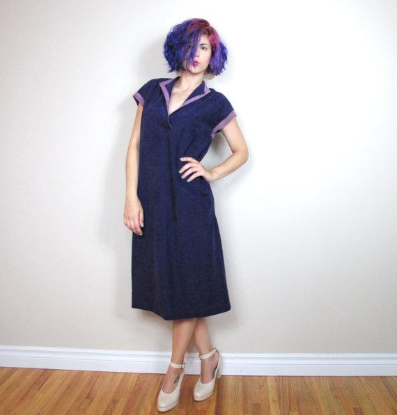 70s Purple Kaftan Tunic Dress