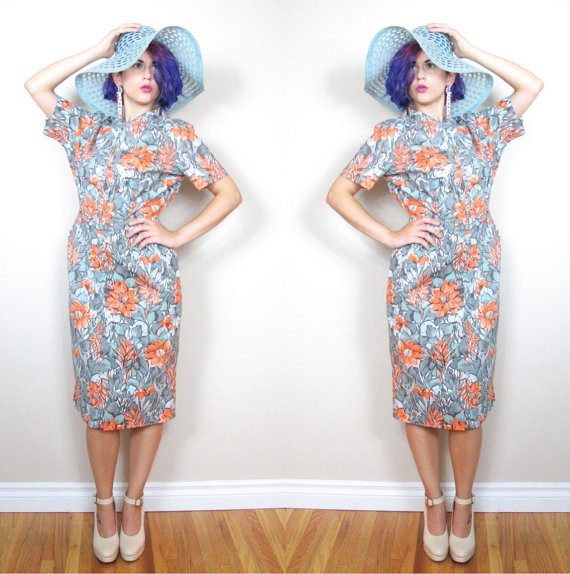 Vintage 1950s Dress Floral Wiggle Dress Pinup Belted Cotton Dress