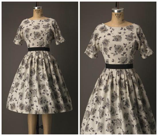 1950s Tan and Black Rose Print Dress