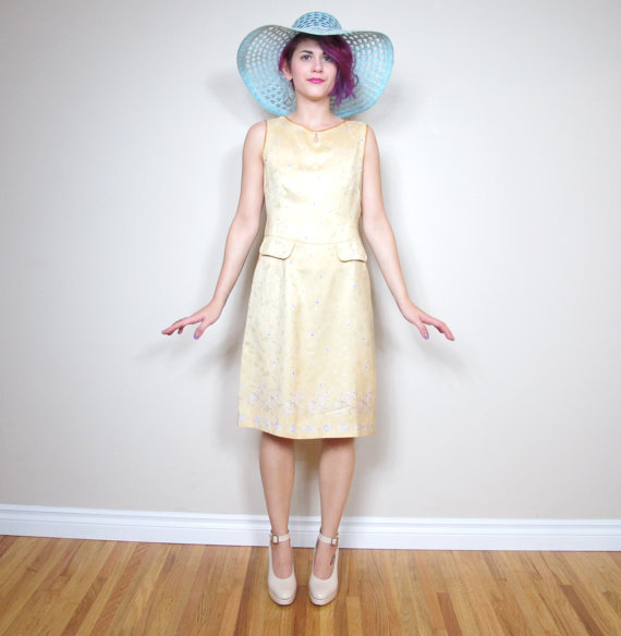 60s Sunshine Yellow Floral Mad Men Sleeveless Shift Dress