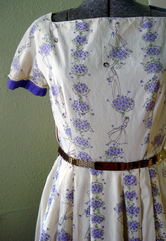 Vintage 1950s Dress Cotton Novelty Print