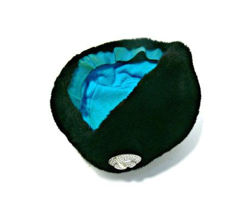 Black Vintage Fur Hat with Rhinestones