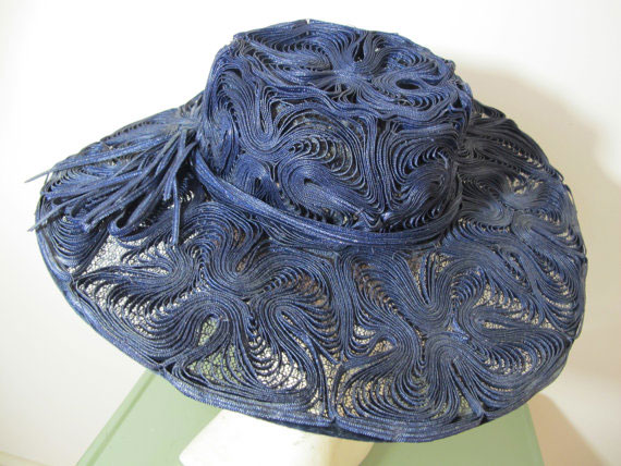Vintage 1940s Dark Navy Blue Ribbon Picture Hat