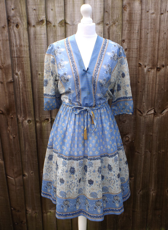 1970's Gypsy Style Blue Patterned Dress