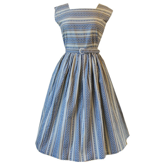 Aztec print 1950s unworn belted cotton day dress