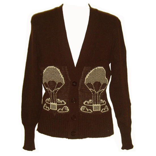 Hot air balloon novelty knit 1970s cardigan