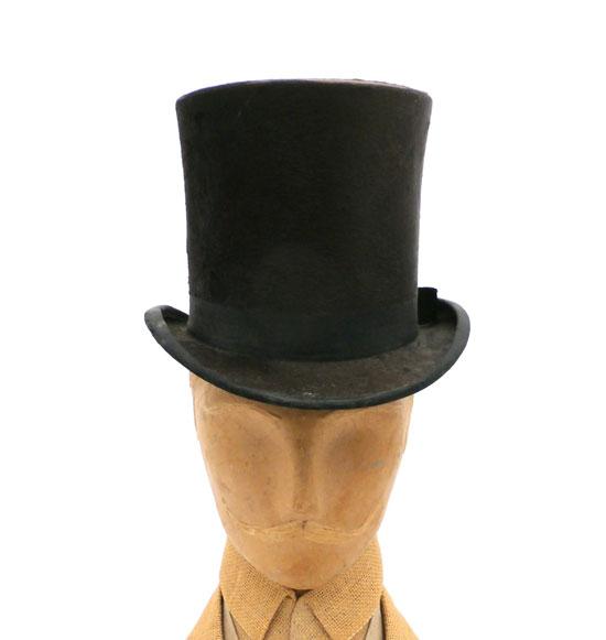 ANTIQUE MENS STOVE PIPE TOP HAT SILK SHELTON & CO LONDON 1870S
