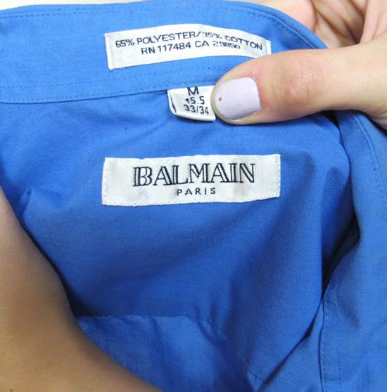 Mens BALMAIN Dress Shirt Vintage Blue Button Down Shirt