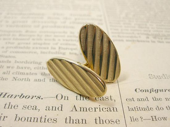 Oval Cufflinks in Brushed Goldtone