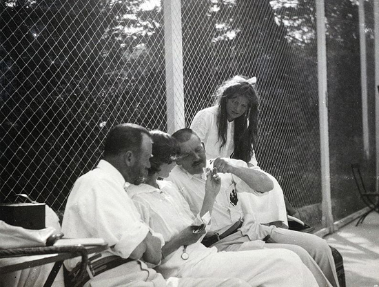 Tsar Nicholas II of Russia with his daughters Grand Duchesses Tatiana and Maria and the officer Rodionov.