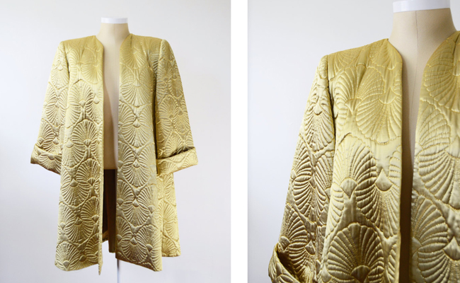 1980s does 1940s Gold Quilted Swing Coat