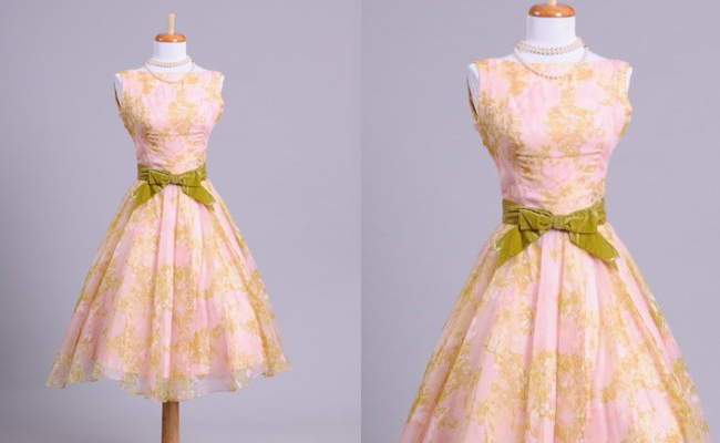 1950 WATERCOLOR VINTAGE PARTY DRESS