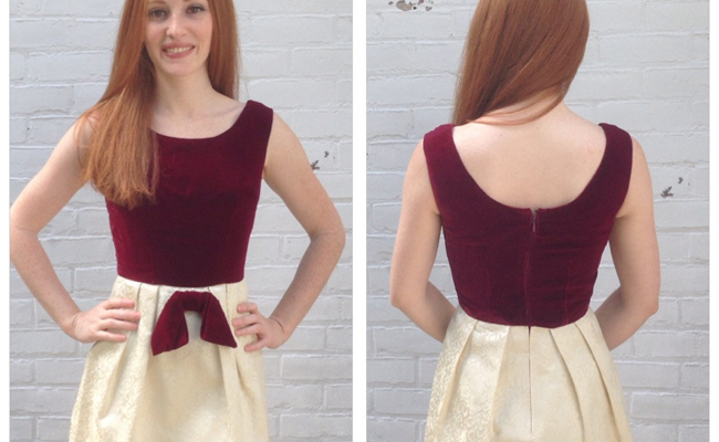 1960s Vintage wine Velvet Cream Brocade Mini Dress