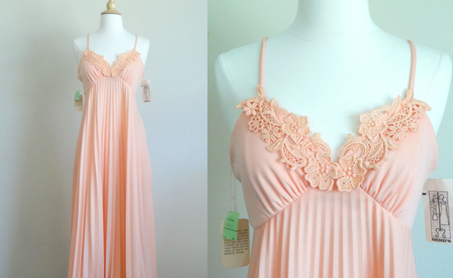 1970s Grecian Pleated Flutter Maxi Dress with Capelet by Gene's