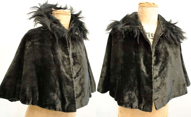 Antique Victorian Black Velvet Mourning Cape with Fur Trim