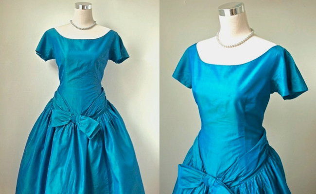 1950s Teal Blue Taffeta Dress With Accent Bow