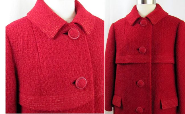 1960s Crimson Red Hockanum Overcoat