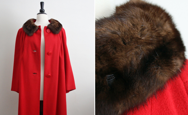 60's Lady in Red / Cashmere Mink Collar Coat