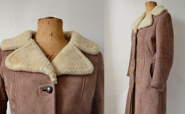 1960s/70s sheepskin wide collar full-length coat