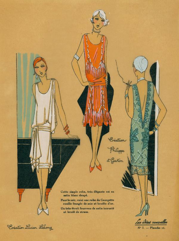 1920s evening dress design sketches