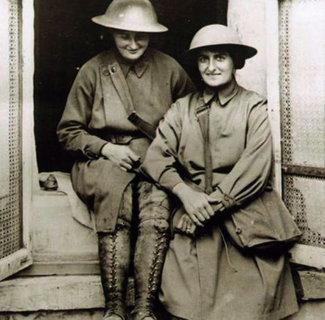 Photograph of nurses, Elsie Knocker and Mairi Chisolm, on the Western Front