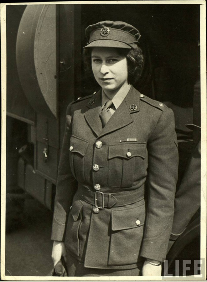Princess Elizabeth in uniform during WW2