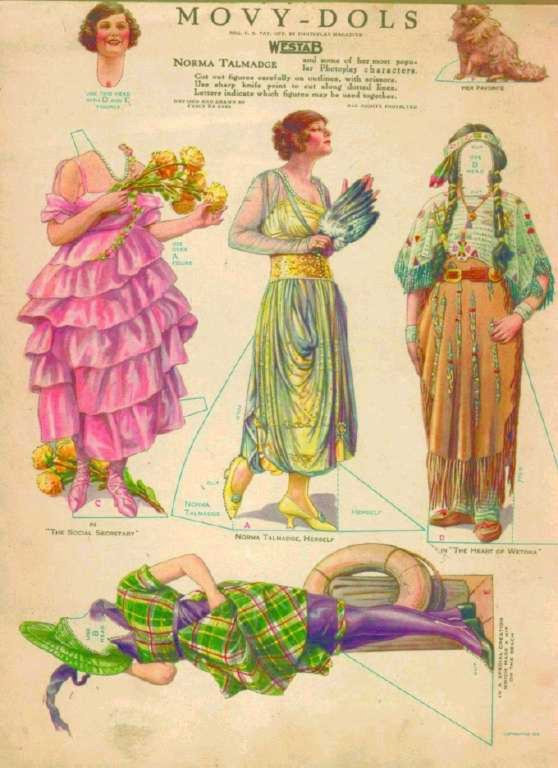 1919 magazine illustration of actress Norma Talmadge and some of her film costumes in paper doll form