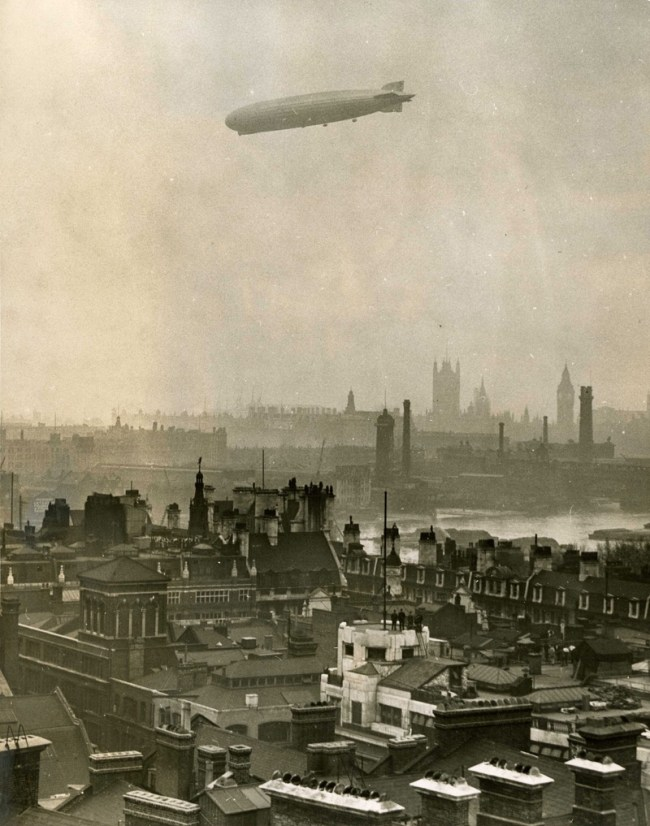 London with an airship in the sky 1930