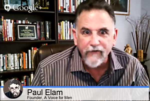 """Paul Elam: Anger is """"pulsing through my veins like molten lava"""" at the very notion that MRAs are violent."""