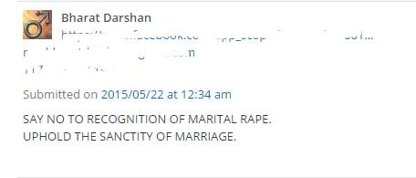 SAY NO TO RECOGNITION OF MARITAL RAPE. UPHOLD THE SANCTITY OF MARRIAGE.