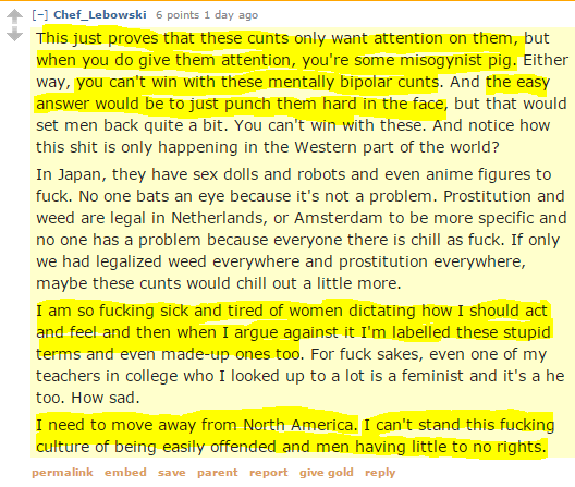 Chef_Lebowski 6 points 1 day ago This just proves that these cunts only want attention on them, but when you do give them attention, you're some misogynist pig. Either way, you can't win with these mentally bipolar cunts. And the easy answer would be to just punch them hard in the face, but that would set men back quite a bit. You can't win with these. And notice how this shit is only happening in the Western part of the world? In Japan, they have sex dolls and robots and even anime figures to fuck. No one bats an eye because it's not a problem. Prostitution and weed are legal in Netherlands, or Amsterdam to be more specific and no one has a problem because everyone there is chill as fuck. If only we had legalized weed everywhere and prostitution everywhere, maybe these cunts would chill out a little more. I am so fucking sick and tired of women dictating how I should act and feel and then when I argue against it I'm labelled these stupid terms and even made-up ones too. For fuck sakes, even one of my teachers in college who I looked up to a lot is a feminist and it's a he too. How sad. I need to move away from North America. I can't stand this fucking culture of being easily offended and men having little to no rights.
