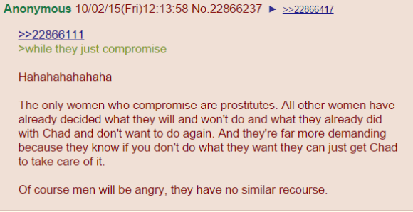 >while they just compromise Hahahahahahaha The only women who compromise are prostitutes. All other women have already decided what they will and won't do and what they already did with Chad and don't want to do again. And they're far more demanding because they know if you don't do what they want they can just get Chad to take care of it. Of course men will be angry, they have no similar recourse.
