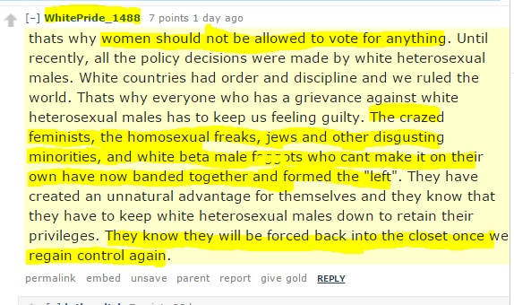 "women should not be allowed to vote for anything. Until recently, all the policy decisions were made by white heterosexual males. White countries had order and discipline and we ruled the world. Thats why everyone who has a grievance against white heterosexual males has to keep us feeling guilty. The crazed feminists, the homosexual freaks, jews and other disgusting minorities, and white beta male faggots who cant make it on their own have now banded together and formed the ""left"". They have created an unnatural advantage for themselves and they know that they have to keep white heterosexual males down to retain their privileges. They know they will be forced back into the closet once we regain control again."