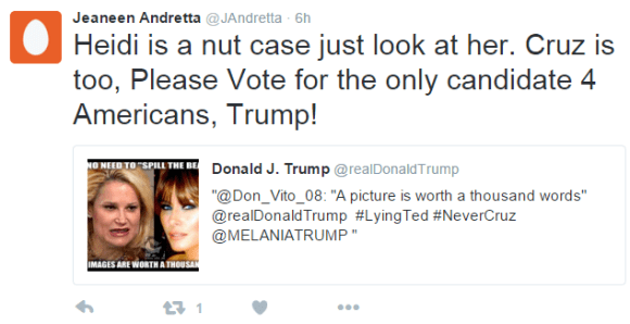 Jeaneen Andretta ‏@JAndretta 6h6 hours ago Jeaneen Andretta Retweeted Donald J. Trump Heidi is a nut case just look at her. Cruz is too, Please Vote for the only candidate 4 Americans, Trump!