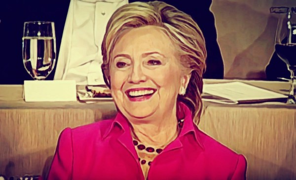 Hillary Clinton at the Al Smith dinner, looking forward to her imminent
