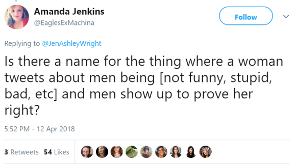 Amanda Jenkins ‏ @EaglesExMachina Follow Follow @EaglesExMachina More Replying to @JenAshleyWright Is there a name for the thing where a woman tweets about men being [not funny, stupid, bad, etc] and men show up to prove her right?