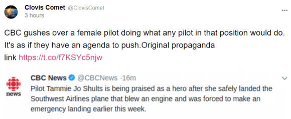 Clovis Comet @ClovisComet 4 hours CBC gushes over a female pilot doing what any pilot in that position would do. It's as if they have an agenda to push.Original propaganda link
