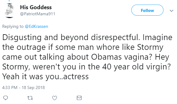 His Goddess  @PatriotMama911 Follow Follow @PatriotMama911 More Replying to @EdKrassen Disgusting and beyond disrespectful. Imagine the outrage if some man whore like Stormy came out talking about Obamas vagina? Hey Stormy, weren't you in the 40 year old virgin? Yeah it was you..actress