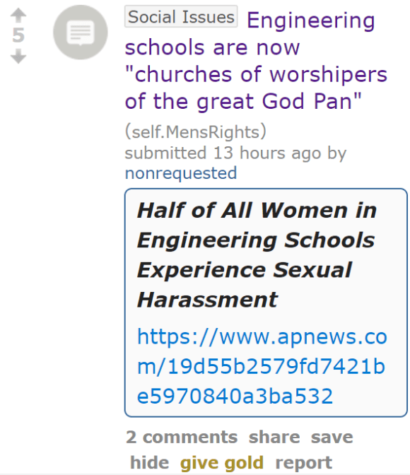 "Engineering schools are now ""churches of worshipers of the great God Pan"""