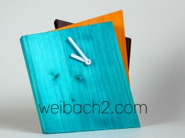 WEIBACH2 - Kantige Holz-Uhr / Edged wooden clock / 4