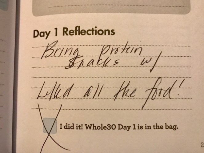 Whole30 Day 1 Reflections