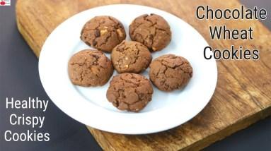 Crispy Chocolate Whole Wheat Cookies - Healthy Atta Cookies Recipe   Skinny Recipes