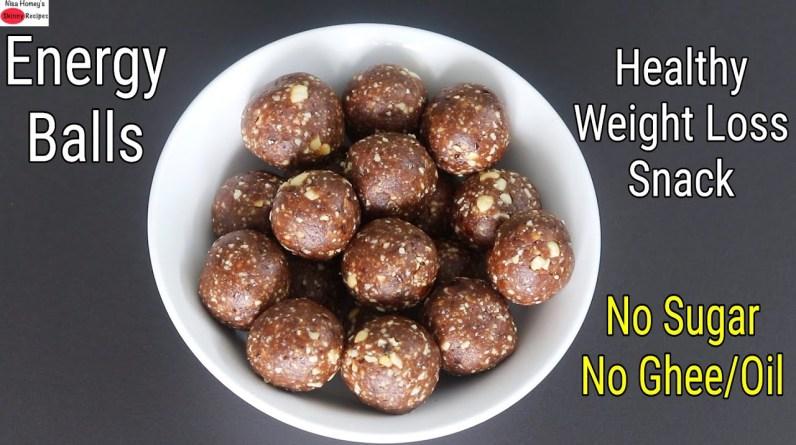Healthy Energy Balls No Sugar No Ghee/Oil Weight Loss Snack Recipe - Energy Laddu | Skinny Recipes